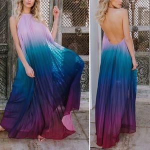 Pleated Ombré Halter Maxi Dress